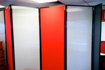 Custom Coloured Mobile Office Partitions from Portable Partitions