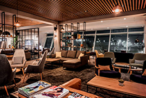 Slatted Acoustic Ceiling for Cosy Airport Lounge from SUPAWOOD