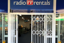 Shopfront Security Doors for Radio Rentals from Trellis Door Co