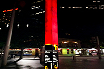 Red Perspex Column for Circular Quay by Mitchell Laminates