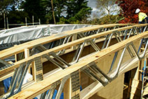 Trusses for Curved Timber Roof Prefabrication by MiTek