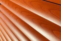 Woodgrain Aluminium Plantation Shutters from Rollashield