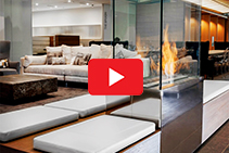 Custom Indoor Fireplace for Nu Skin Office by EcoSmart Fire