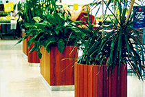Timber Slat Public Area Plant Pots & Seating by DOSmith