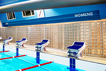 Glass Block Shower Screens for Public Pool by Obeco Glass Blocks