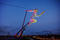 Illumination of Iconic Sculpture The Sprinter by WE-EF