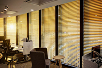 Smart Timber Venetian Blinds for Offices from Somfy