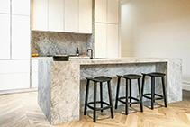 Classic Honed White Marble Kitchens by WK Quantum Quartz