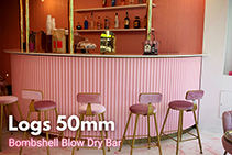 Logs Textured Wall Panels for Blow Dry Bar by 3D Wall Panels