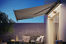 Kubata + LED Folding Arm Awnings from Blinds by Peter Meyer