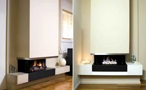 The Horizon lowline series of gas fires from Jetmaster and Kemlan offers a fire floating on the fireplace base. Horizon gas fireplaces are available in pebbles