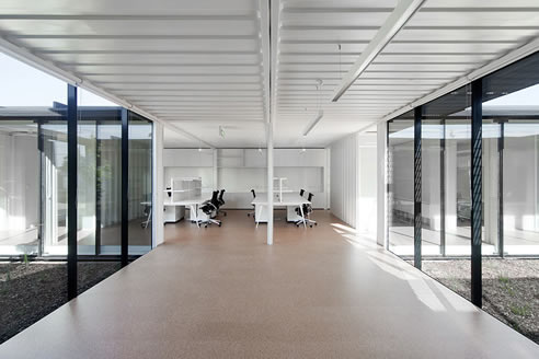 Cork Flooring In Shipping Container Site Office Project