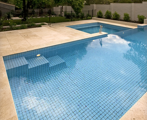travertine pool surround
