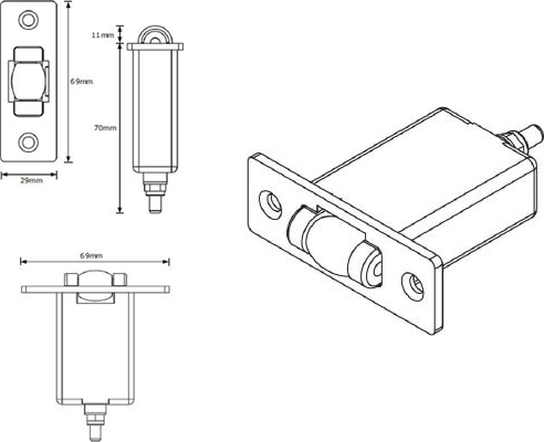 Fire rated roller latch from Pyropanel