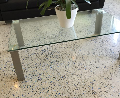 Glass in Polished Concrete Floor