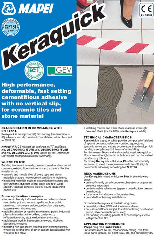 Keraquick Tile Adhesive From Mapei Australia