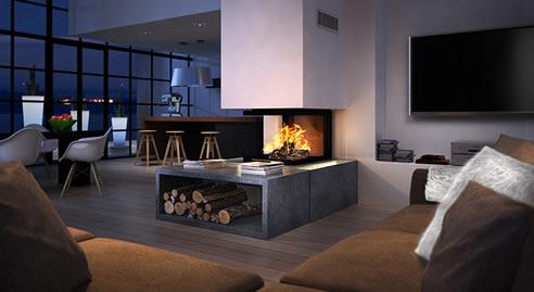Triple Sided Fireplace D1000 Epi Chazelles Australia