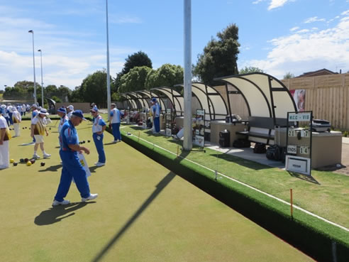 bowls green shade structures with heating