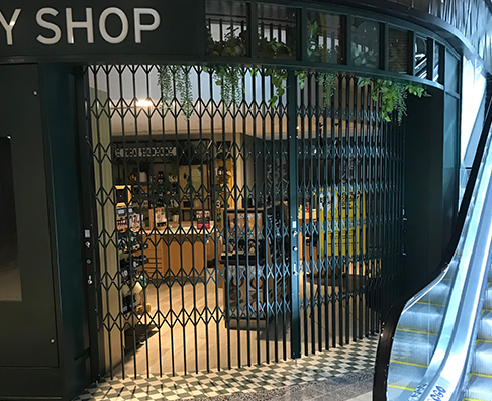 Edgy Folding Security Shutters for Retail from Trellis Door Co