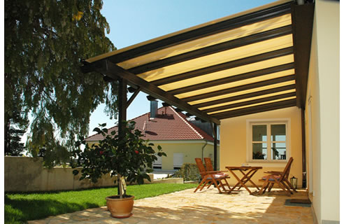 Miranda retractable pergola terrace awning video from for Terrace pergola
