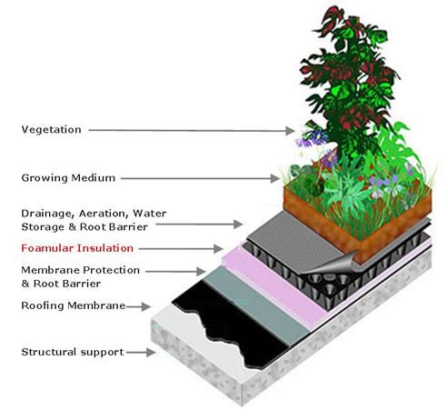 Foamular Insulation For Green Roof Top Gardens