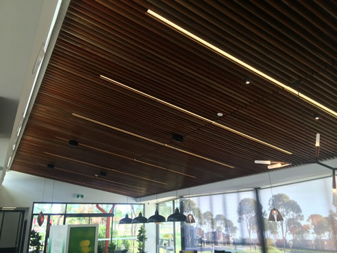 Acoustic timber slat ceiling decor systems for Decor systems