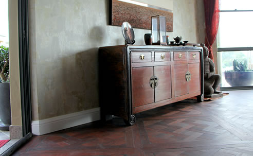reclaimed timber parquetry floor