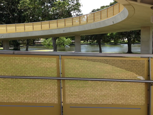 anodised perforated panels moore park pathway