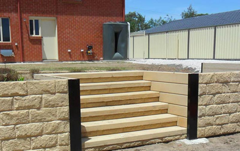 sandstone coloured concrete steps