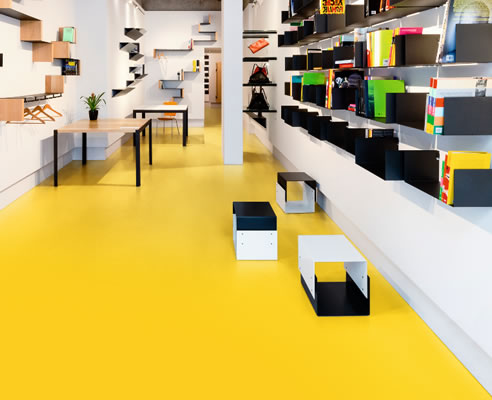 Yellow Solid Colour Sheet Floorcovering