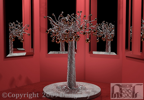 Metal Tree Sculpture By Advanced Stainless Steel Furniture