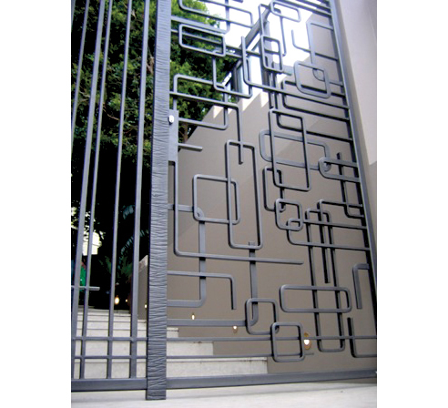 Wrought iron abstract gates for from wrought artworks for Modern zen window grills design