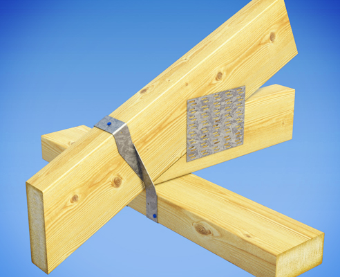 MiTek CycloneTies are used to fix purlins, rafters and trusses to top plates and timber lintels.