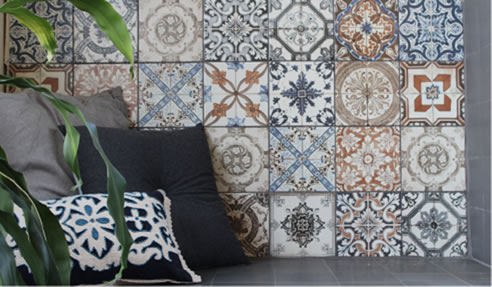 Moroccan Inspired Feature Wall Tiles and Timber Look Floor Tiles for
