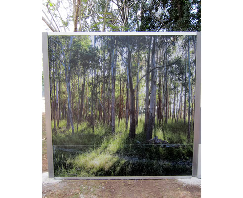 acoustic fence with photographic print of bushland