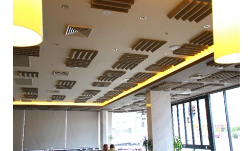 ceiling acoustic profile panels in restaurant