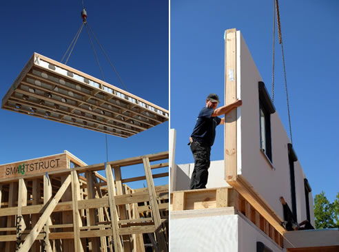 multi-level construction with prefabricated floors and walls