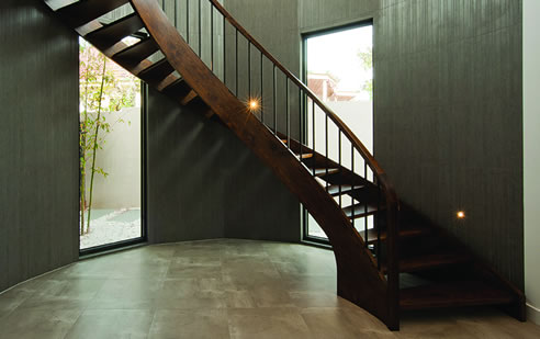 curved timber staircase
