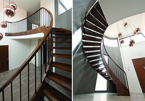 curved staircase american oak