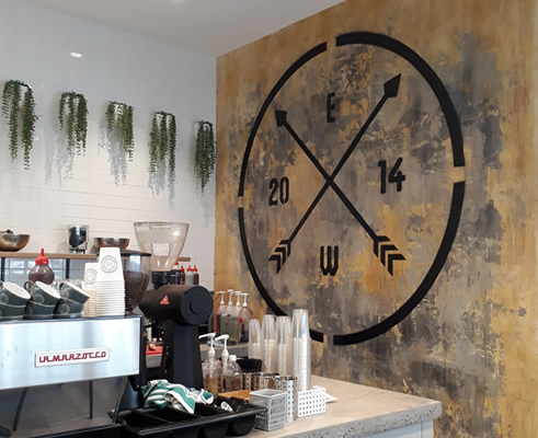 Aged Wall Finish at Espresso Warriors