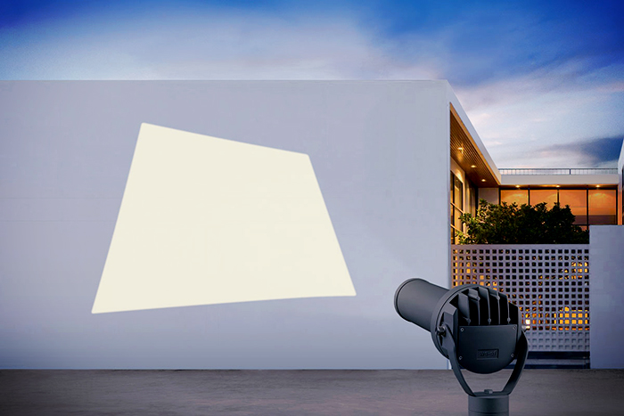 Frame projector [FP] for illuminating polygon surfaces from WE-EF