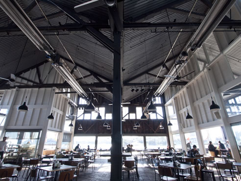 heaters at the bar at the end of the wharf