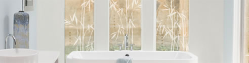 decorative window frosting in bathroom