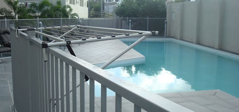 pool fence clothesline airer