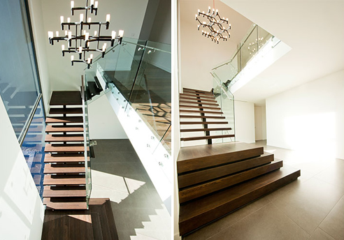 steel and oak staircase glass balustrade