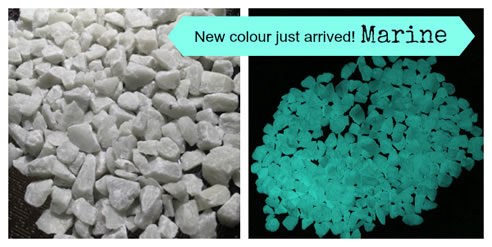 marine colour glow in the dark pebbles