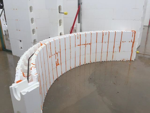 Curved walls with insulated concrete forms insulbrick icf for Foam concrete walls