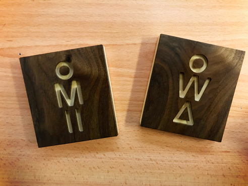 Wooden toilet signs from Architectural Signs