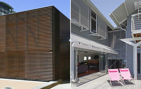 Cedar and aluminium louvers by jwi louvres for Balcony louvres