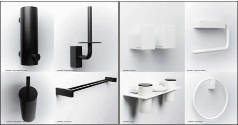 Minosa bathroom accessories quadra black to white for Black white bathroom accessories